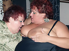 Hefty matures Louise and Mindy show off their fat knockers and share a cock to cram into their holes