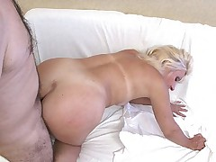 Blonde oldie loving it from behind