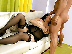 Sexy plumper Claudia wears her sexy lingerie as she gets fucked hard from behind