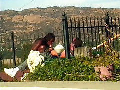 Pretty black chick Sheeba joins a muscled white dude outdoors to suck and fuck a big cock