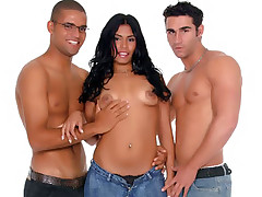 Paola joins two horny bisexual men in a sandwich fuck and jousting dicks into her filthy mouth
