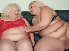 Melinda Shy and Faye are massive blonde BBW with lesbian tendencies sharing a dildo to play with