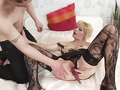 Watch a steamy mature porn as older babe Ira Filimonova gets her pussy wet by a younger hottie and a sex toy