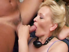 Older slut Lina goes all out as she tests her sexual prowess with three horny studs