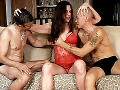 Sexy babe Felony dressed in red and taking her share of cock slurping in this bisexual MMF threesome