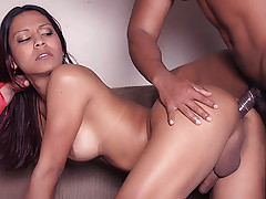Alana joins a hot couple in a threesome and strokes her cock while a hunk pounds her butt
