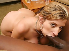 Hot and busty mom pumping her cunt with black dick