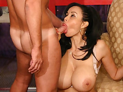 Big tit milf Adrianna rides a huge cock reverse cowgirl style before doing it doggy style