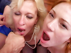 Older babes Lina and Cristina pleasure their young sexy stud with their mature pussies