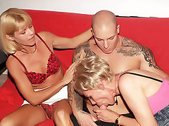 Sexy older women Ritta and Rosalie helping each other get off and sharing a good size cock