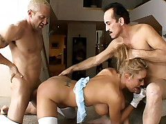 Blonde big tit pornstar Trina Michaels got her pussy and ass fucked hard
