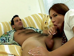 Horny Plumper Alyssa West titty fucks a huge dick while wearing her sexy highschool costume