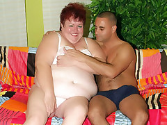 Chubby redhead Louise got herself a fuck buddy and got her mouth and pussy crammed with a dong