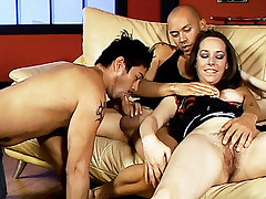 Naughty babe Ann Parker seduced two bisexual guys into taking dildo ramming in their asses