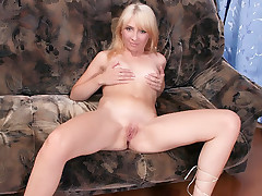 Slutty blondie Jana and her horny stud go for an anal fuckfest in the love couch