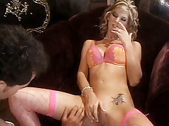 Lovely pornstar Brooke Banner treats a lucky stud to a lot of sucking and hardcore fucking