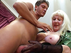 Busty mature spreading her cunt to get cock pumped