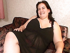 Fat horny milf fingercuffed by two studs