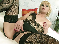 Slutty oldie Ira Filimonova seduces her stud with her mature goodies while wearing her sexy black lingerie
