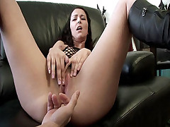 Guily wipes her sweet smile and moans hard while a hunk pumps his big dick into her butt