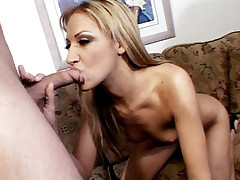Blonde hottie Tina Fine gets her face creamed after a hard anal drilling