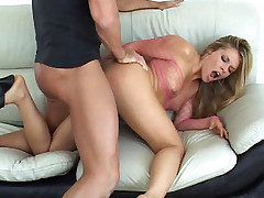 Gorgeous blonde model Bailey straddles on top and spreading her legs wide to take cock shoving in her butt