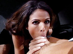 Slutty pornstar Shy Love getting pussy licked first then fucked with her panties still on