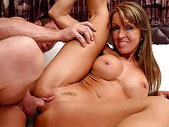 Slutty MILF gets her shaved cunt stretched with cock