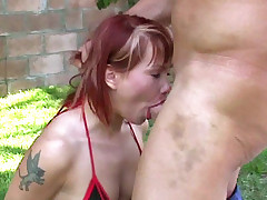 Cock greedy porn star Katja naked on the picnic mat while a guy rammed her ass with a big cock