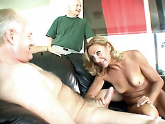 Horny housewife Ginger Fernandez get fucked by two guys in front of her loving husband