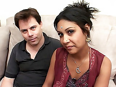 Petite Indian Chick Monkia squeezes her own perky tits whike getting her pussy drilled