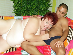 Chubby redhead Anna Marie stuffs her mouth over a schlong and got her juicy pussy fucked hard