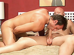 Blonde Sindy Lange barges in on these bisexual hunks and made them take turns licking her cunt