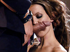Hot chick Alicia Alighatti enjoys a little strangling as this pornstar rides his cock