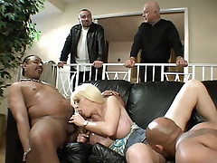 Naughty housewife Carson get screwed by two guys in front of her no good husband