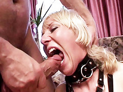 Sexy blonde Tamara gagging her throat with a big dick and gets deep cock probing from behind