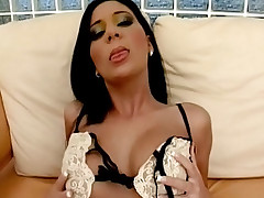 Brunette lesbian stuffing her cunt with a huge sex toy