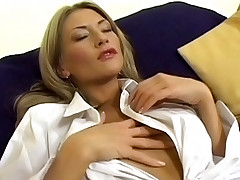 Blonde lesbians playing with their ample tits
