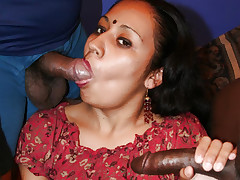 Exotic Indian beauty Lashki on her knees and jousting two huge dicks into her mouth