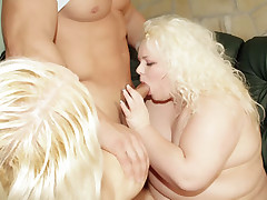 Chubby blondies Melinda Shy and Faye go for a threesome and engage in cock sucking and fucking