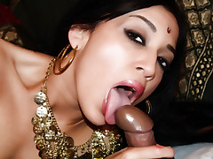 Petite Indian lady Kharti goes to work sucking off a cock and taking another one in her cunt