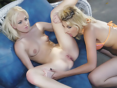 Hot lesbian Mikayla and her friend screw their holes with sex toys in this kinky outdoor sexplay