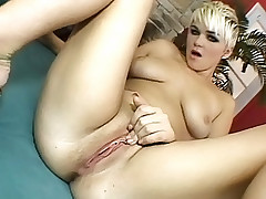 Plump assed blonde spreads her ass to get fucked