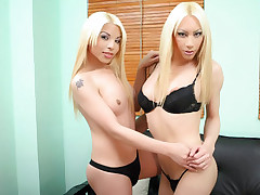 Vanesa and Melanie are sexy blonde TS models munching on each others dicks and taking anal filling