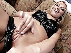 Sexy blonde Tina Fine rubbing her clit while a guy pounds her tight ass with his wang