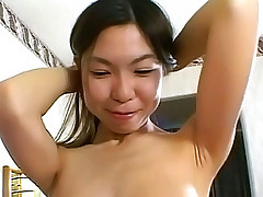 Petite Asian chick gets her pussy stretched with cock