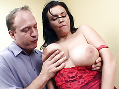Busty babe Angelica Sin gives her buddy a sinful blowjob and gets her butthole fucked