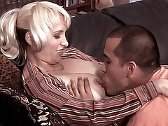 Watch this sexy MILF Sophia Mounds get nailed in dog style position by a younger dude