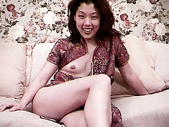 Sweet asian Love Ly working out all the adrenalin from a toy coming in and out her pussy