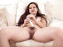Asian hottie Kim Chi loving the day getting a nice fuck after pleasuring herself with a toy